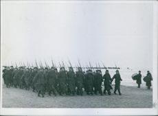 Marching Russian troops in their formation. 1941-42