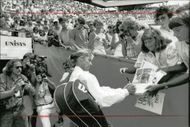 Tennis player Chris Evert signs autographs at the US Open