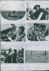 Free French forces fighting in the desert battle zone.