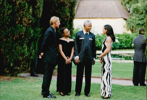 Boris Becker with Mrs Barbara meets Nelson Mandela and Jose Machel in Somerset West