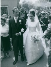 Prince Andre de Bourbon-Parme with his bride Marina Gacry, on their wedding day. 1960.