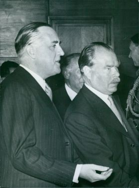 Extraordinary and Plenipotentiary Minister of Great Britain, Mr. M.A. II Lincoln, introduces members of the Legation of Great Britain in Bulgaria to President Dimiter Ganev., 1963.