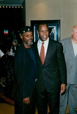 "Danny Glover and Samuel L. Jackson at the film premier of Oprah Winfrey's movie ""Beloved"""