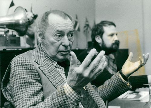 American jazz musician Woody Herman during a press reception.