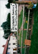 View of sign in the village.