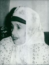 Mother of Mehdi Ben Barka, photograaphed of Moroccan dress at her home in Rabat; the mother of the man whose mysterious kidnapping and disappearance in 1956 caused great public scandal in Paris and Morecco.
