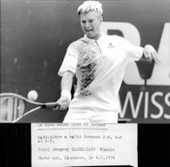 Yevgeny Kafelnikov plays at the tennis tournament in Gstaad