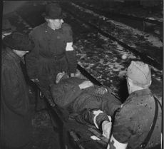 Injured is on a stretcher at an emergency drill in conjunction with the Red Cross at Rosersberg