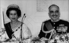 Queen Elizabeth II together with King Hussein of Jordan under State Bank