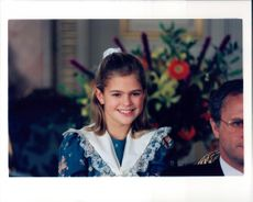 The princess Madeleine laughs gently at the camera during the royal family's traditional Christmas photography.
