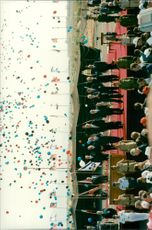 President Bill Clinton, Israel's Prime Minister Yitzhak and King Hussein receive the jubilee of the audience