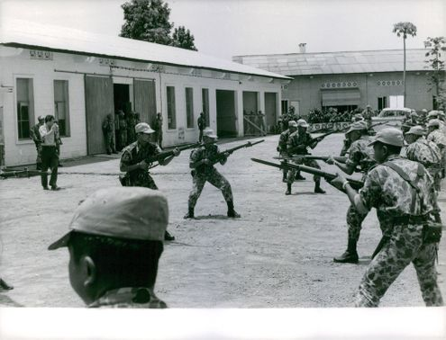 Soldiers confronting.