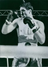 Yugoslav boxer, Mate Parlov inside the ring. 1978.