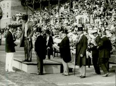 Wreath ceremony in the Olympic Games in Stockholm Stadium