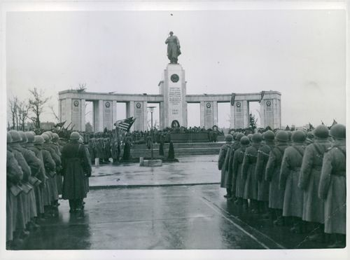 General view of the scene after the unveiling ceremony by the Red Army's victory memorial in Berlin.
