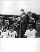 The champions receiving flowers from little children  The Soviet Union national football team was the national football team of the Soviet Union.