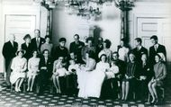 Family photo at baptism of Princess Margriet of the Netherlands and Pieter van Vollenhoven, 1970