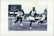 Linford Christie during a race.