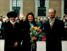 Crown Princess Victoria celebrates her name's day at Stockholm Castle and is seen here with Queen Silvia and King Carl XVI Gustaf