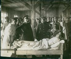 World War I 1915 German and Russian imprisoned in military camp.