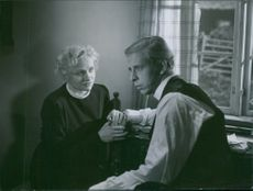 "Gunn Wållgren and Rune Lindström in a scene from the film ""Ordet""."