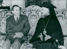 Andrei Gromyko & Archbishop Makarios sitting on the couch, 1974.