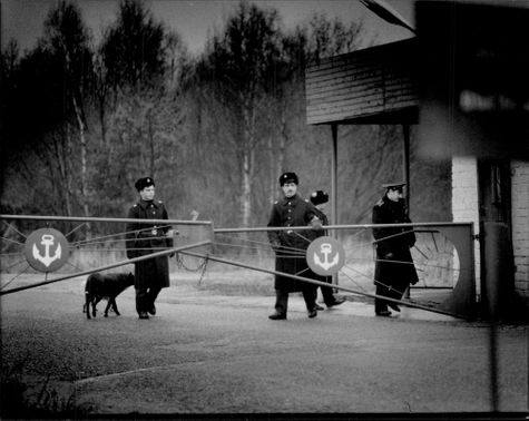 Soviet border guards at the closed Paldiski naval base, located on a still occupied peninsula in the now independent Estonia.