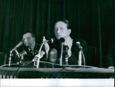 French novelist André Malraux is giving speech in a seminar