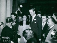 John Spencer-Churchill and Athina Livanos welcomed by the people and smiling.