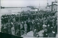 Soldiers gathered in the port in Sweden during World War II.