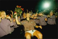 Stefan Edberg is celebrated after the Stockholm Open.