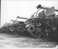A line of M-48 tanks stored at Germersheim, Germany