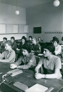 Young people studying in class in Germany.