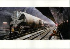 Channel Tunnel:One of the main Tunnel Boring Machines pictured in Uk crossover.