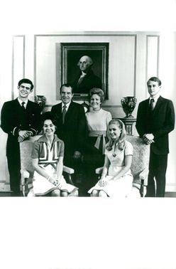 Nixon's Family Portrait. Sitting from: Julie and Patricia. Standing as of David Eisenhower, Richard M. Nixon with his wife Patricia and Edward Cox.
