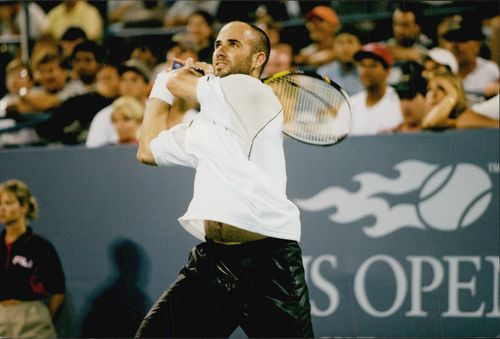 American tennis player Andre Agassi during the quarterfinals against Karol Kucera in the US Open 1998