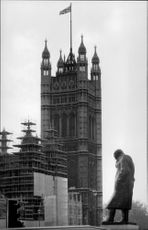 Photography in black and white at Parliament in London and Big Ben.