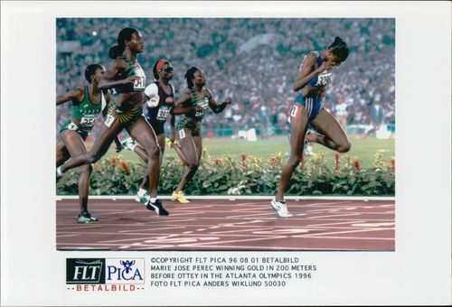 Marie Jose Perec wins gold at 200m under the Olympic Games in Atlanta in 1996