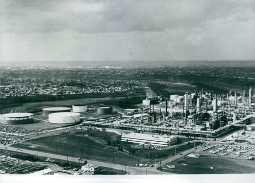 Strathcona Refinery An overall view of Strathcona Refinery, part of Imperial Oil Limited of Canada.  1976