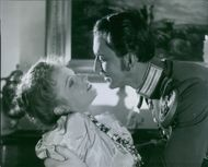 Lauritz Falk and Vibeke Falk in the scene from the movie,