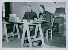 General Gort and Air Marshal Barratt from France discuss points at headquarters in France.  - 1939