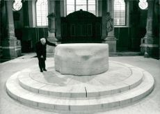 Sculptor Henry Moore at an altar in marble