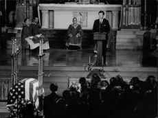 Edward Kennedy delivering eulogy at funeral of Robert Kennedy at St. Patricks Cathedral, New York.