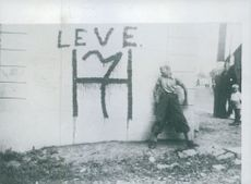 """""""Leve H 7"""" for King Haakon VII,  painted on wall in Norway during World War 2 with a boy standing beside it, 1941."""