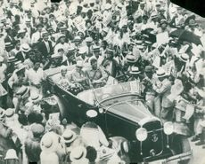 Captain Charles Lindbergh with his wife is welcomed in Japan