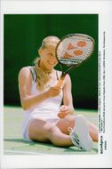 Anna Kournikova plays in Wimbledon