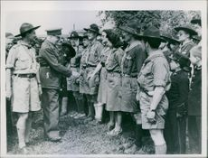 1946 First International Boy Scouts Camp in Milan General Dunlop, talking to boys scouts of many nationalities at the First Post war International Boy Scouts Camp at Milan.
