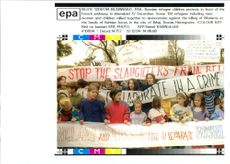Bosnian refugee children protests in front of French embassy.