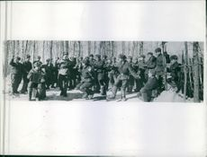 Men of the battery of the 1st guards Artillery Regiment enjoying while off duty.