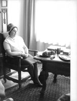 Wife of Otto Adolf Eichmann, Veronika Eichmann sitting on a chair, 1962.